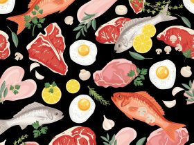 fresh-meats-fish-and-eggs-seamless-pattern-vector-id663504060